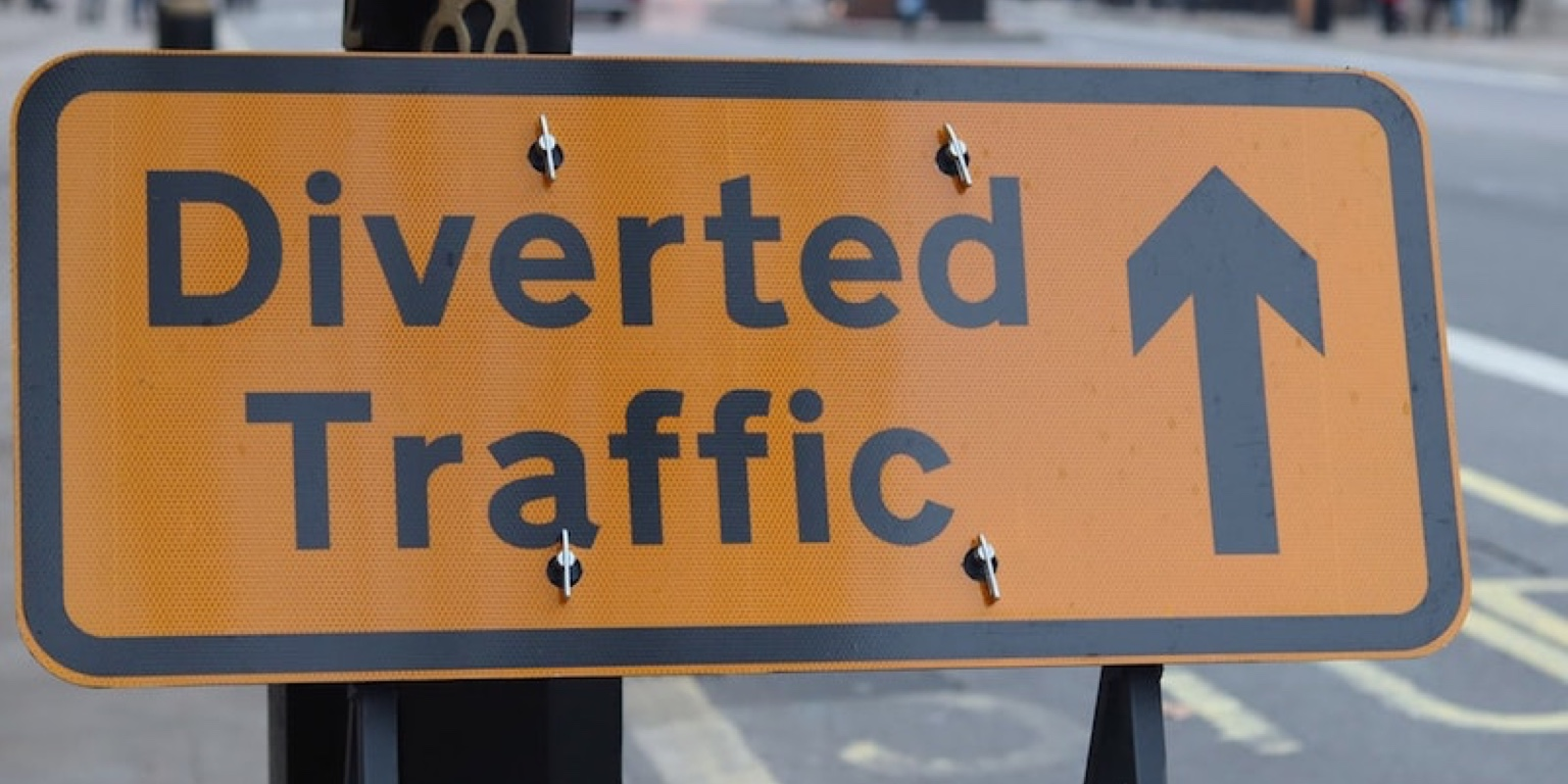 Photo of diverted traffic sign