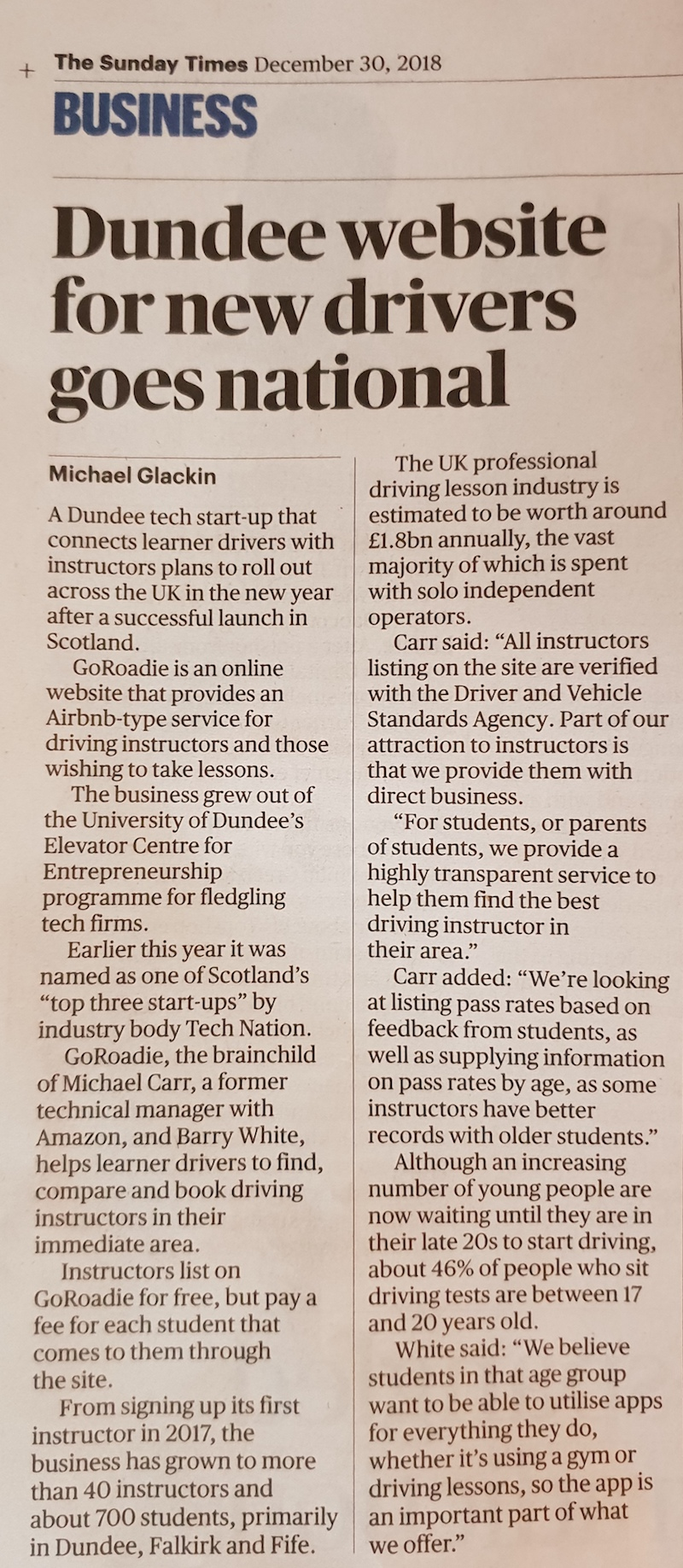 The Sunday Times GoRoadie Article