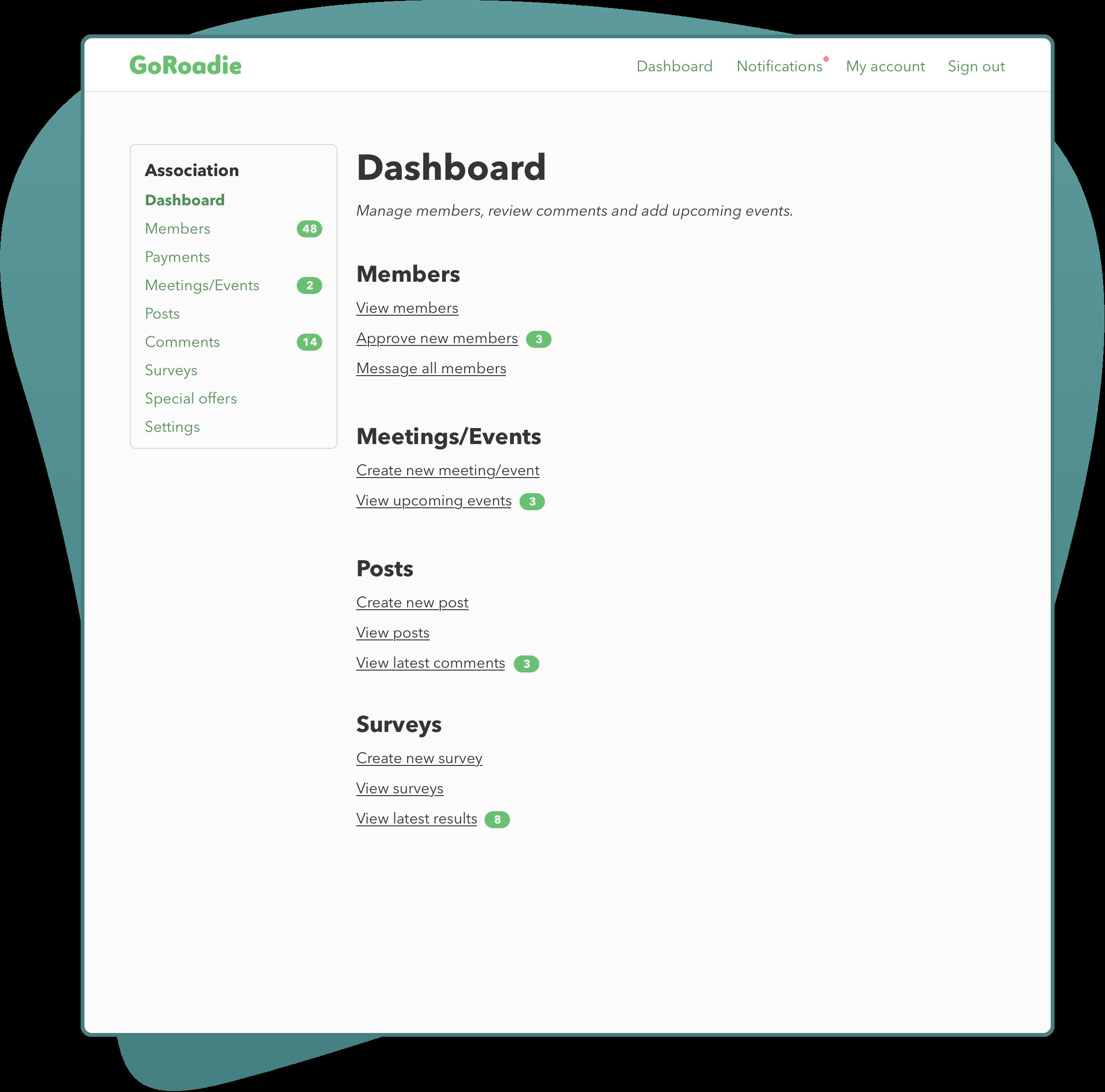 Association Hub Dashboard screenshot