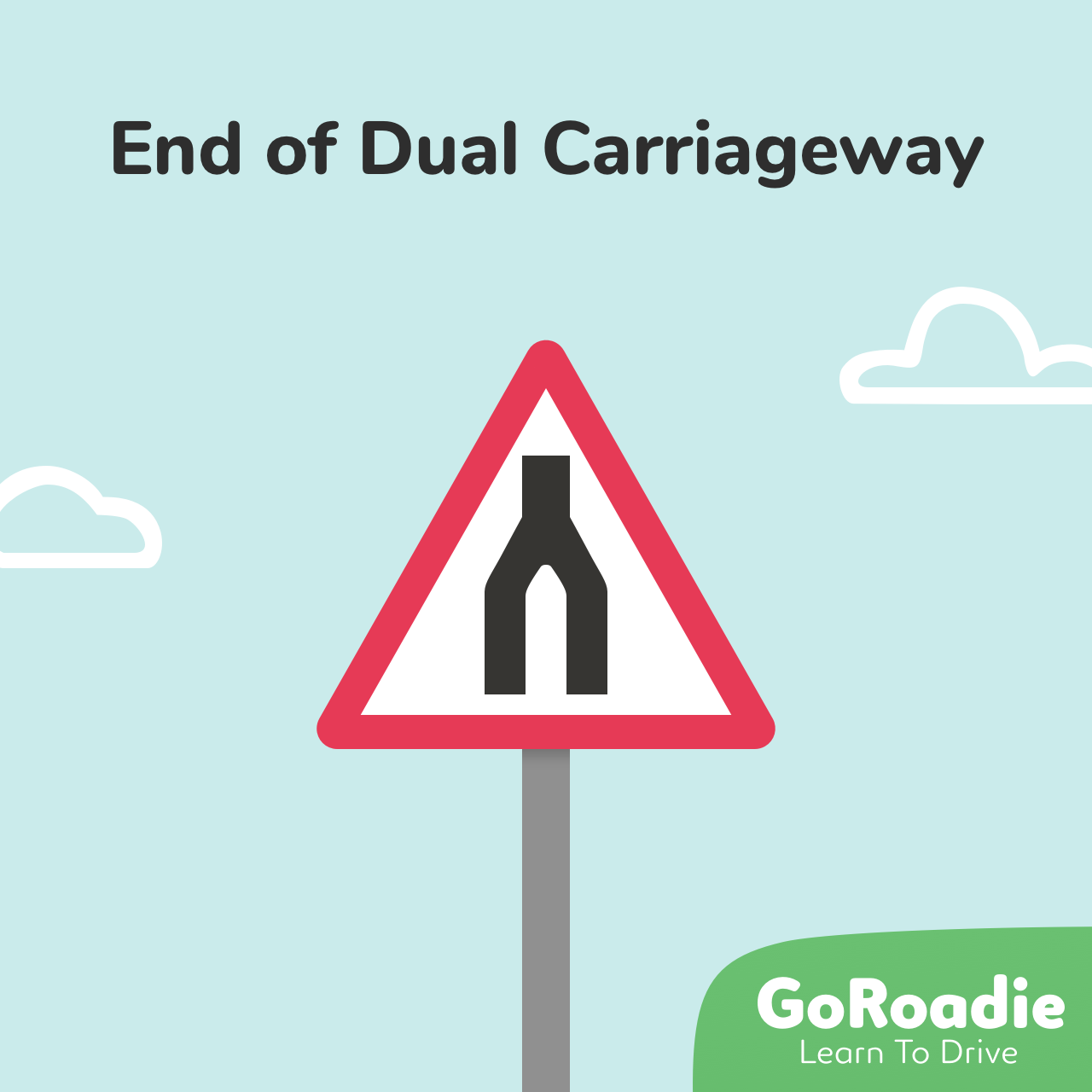 End of Dual Carriageway traffic sign illustration