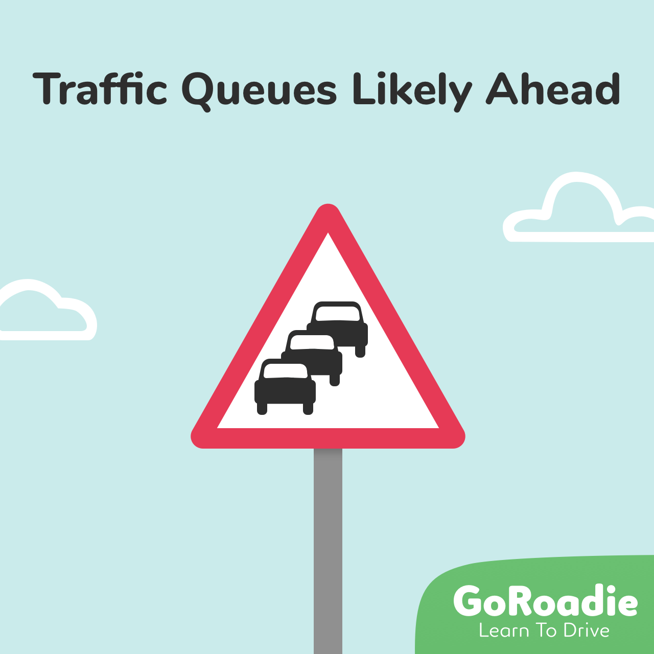 Traffic Queues Likely Ahead traffic sign illustration